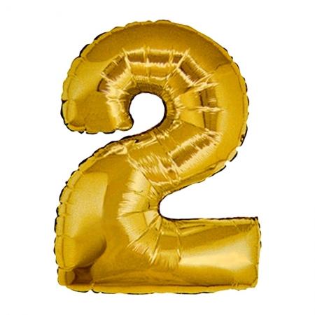 2 Rakam Folyo Balon Altın Renk