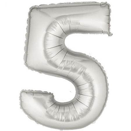 5 Rakam Folyo Balon Gümüş Renk