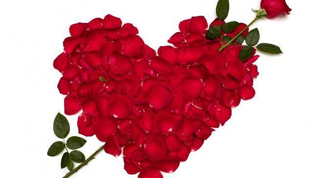 gül yaprakları ve kalp